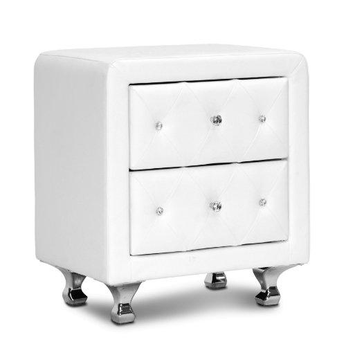 Baxton Studio Stella Crystal Tufted Upholstered Modern Nightstand, White