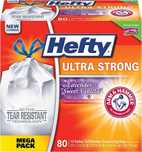 Hefty Ultra Strong Trash/Garbage Bags (Lavender Sweet Vanilla, Odor Control, Kitchen Drawstring, 13 Gallon, 80 Count)