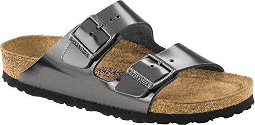 Birkenstock Unisex Arizona Metallic Anthracite Sandals - 5-5.5 2A(N) US Women