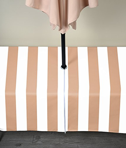 """Fabric Textile Products Tan & White Cabana Outdoor Tablecloth Milliken Waterproof with Zipper & Umbrella Hole 60""""x120"""""""