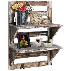 MyGift Rustic Wood Wall Mounted Organizer Shelves w/2 Hooks, 2-Tier Storage Rack, Brown