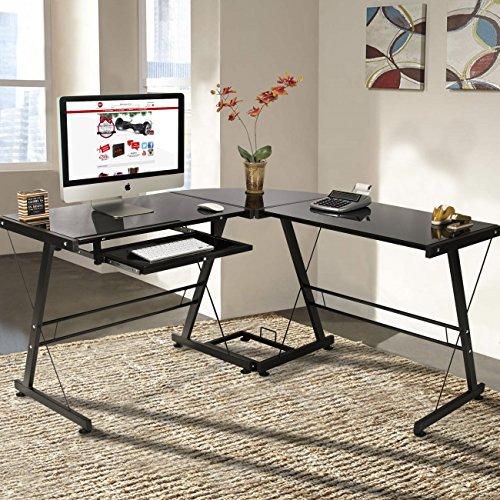 Best Choice Products L-Shape Computer Desk PC Glass Laptop Table Workstation Corner Home Office Black