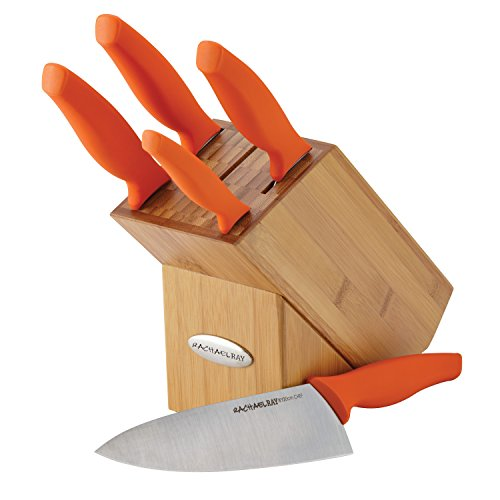 Rachael Ray 6-Piece Japanese Stainless Steel Knife Block Set with Orange Handles