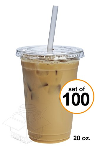 COMFY PACKAGE 100 Sets 20 Oz. Plastic CRYSTAL CLEAR Cups with Flat Lids for Cold Drinks, Iced Coffee, Bubble Boba, Tea, Smoothie etc.