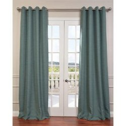 """Gorgeous Home Linen *Various of Colors & Sizes* 1 PC #72 , Solid Insulated Foam Backing Lined Blackout Hotel Quality Grommet Top, Silk Window Curtain Panel (84"""" Length, Silver Blue)"""