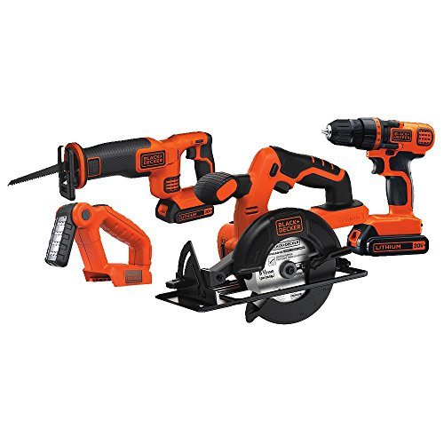 Black & Decker 20V MAX Drill/Driver Circular and Reciprocating Saw Worklight Combo Kit