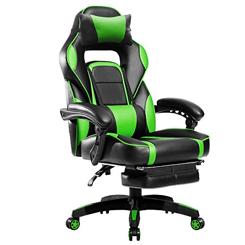 Merax Racing Style Office Chair Gaming Ergonomic with Adjustable Armrests Home Office Computer Chair (Green)