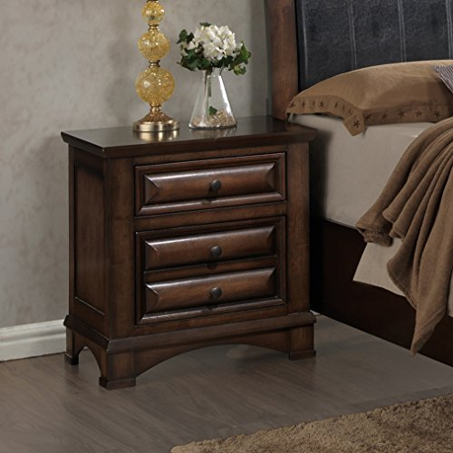 Roundhill Furniture Broval 179 Light Espresso Finish Wood 2 Drawers Night Stand, NA