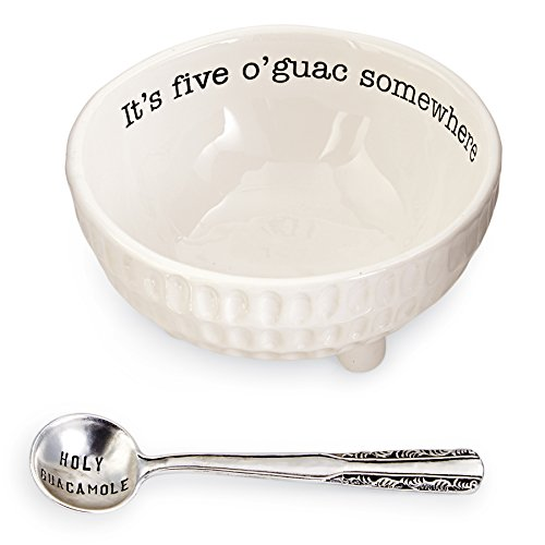 Mud Pie 4851076 Guacamole Serving Dish Set, White