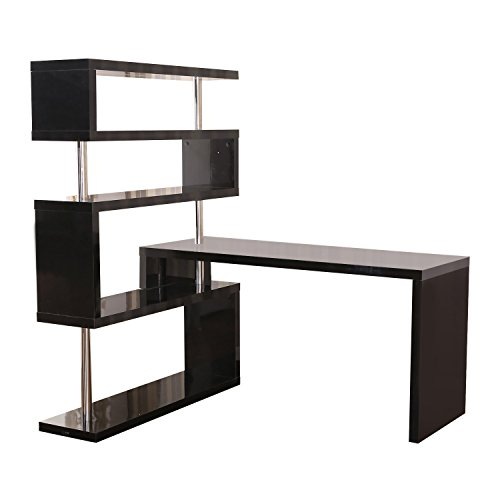 HOMCOM Rotating Home Office Corner Desk and Storage Shelf Combo - Black
