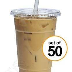 24 oz. Plastic Cups With Flat Lids [50 Sets]