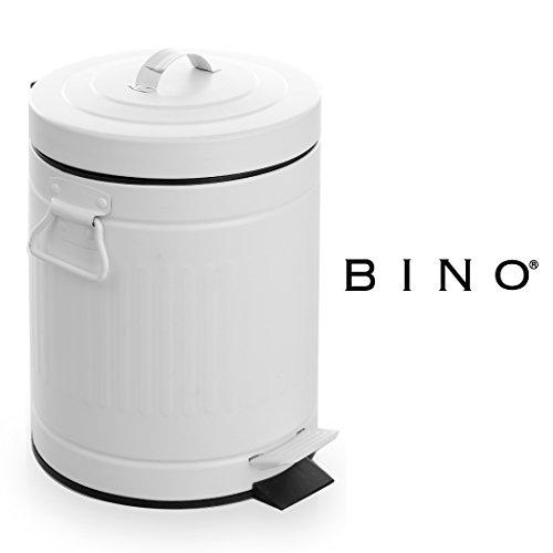 BINO Stainless Steel 1.3 Gallon / 5 Liter Round Oscar Step Trash Can, Matte White