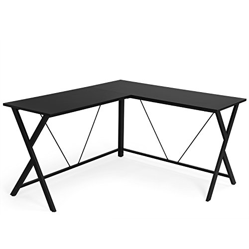 SONGMICS L Shaped Computer Desk Office Corner Desk, Enough Space for 4 or more Computers and Sturdy Metal Frame, Easy Assembly, Tools and Instructions Included, Black