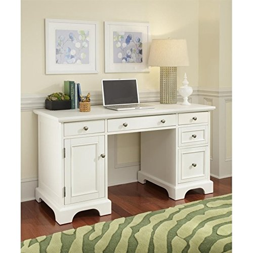 Home Styles Naples Pedestal Desk, White Finish