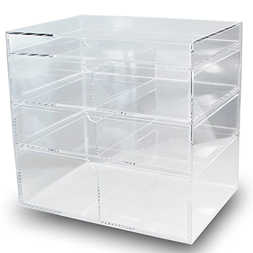 Ikee Design Premium Acrylic Clear Cosmetics Acrylic Makeup Drawer Organizer Tray Office Supplies Holder With 4 Removable Drawers Best Offer Ineedthebestoffer Com