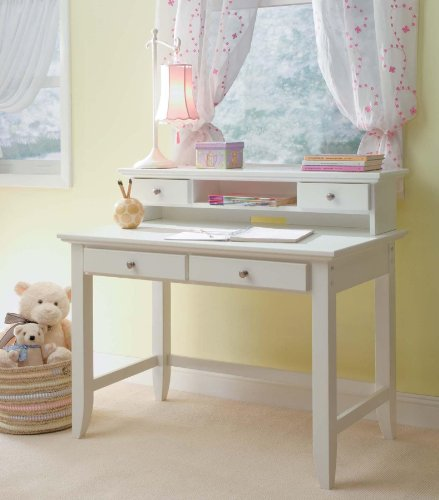 Home Styles Naples Student Desk and Hutch, White Finish