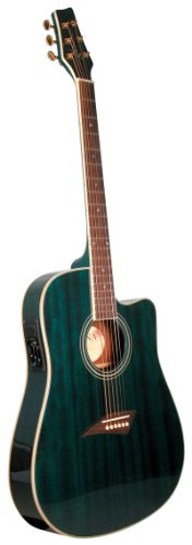 Kona Acoustic Electric Dreadnought Cutaway Guitar in Transparent Blue Finish