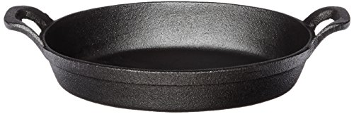 "American Metalcraft Cast Iron Oval Casserole Pan with Handles, 12"" L x 6.75"" W, Black"