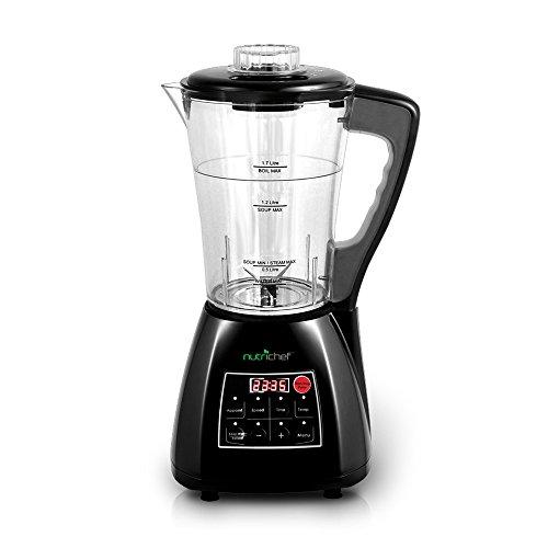 Upgraded NutriChef Pro Soup Maker & Blender | Multifunction Machine | Hot and Cold, Juicer, Soup & Smoothie Maker | Food Warmer | Healthy Food | Pulse, Steamer, 1.7L, Black