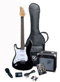 RST BK LH Full Size Left Handed Black Electric Guitar Package w/Guitar, Amp, Strap and Instructional DVD