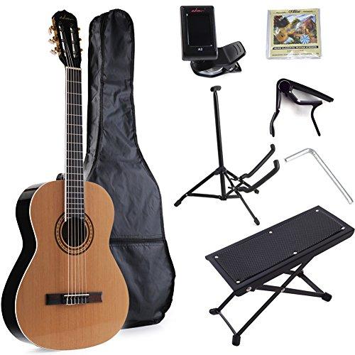 ADM Full Size Nylon-String Classical Guitar with Gig Bag, E-tuner, etc, Student Beginner Kit