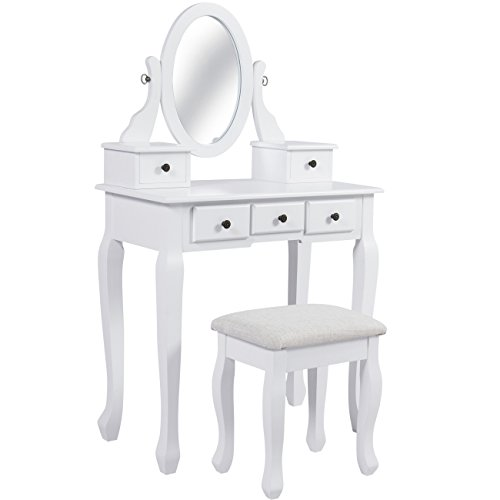 Best Choice Products Vanity Table and Stool Set w/Adjustable Oval Mirror, 5 Drawers, Padded Seat - White