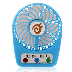 D-FantiX 3-inch Small Portable Fan 4 Speeds Rechargeable USB Desk Fan Personal Fan Mini Handheld Fan Battery Operated/USB Powered for Travel, Home and Office (Blue)