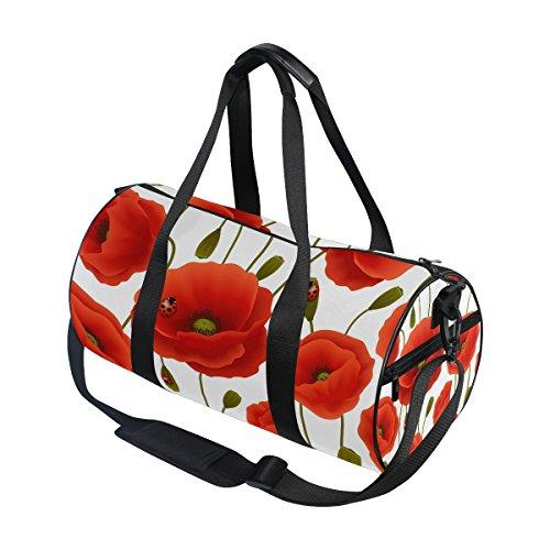 ALAZA Red Poppy Flower Ladybug Travel Duffel Bag Sport Gym Luggage Bag for Men Women