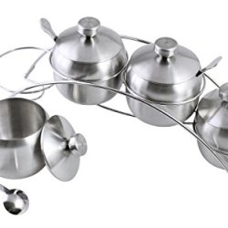 Quality Stainless Steel Made| Spice Seasoning Jars Containers with Lids and Spoons on Non-Slip Rack - Set of 4 Containers