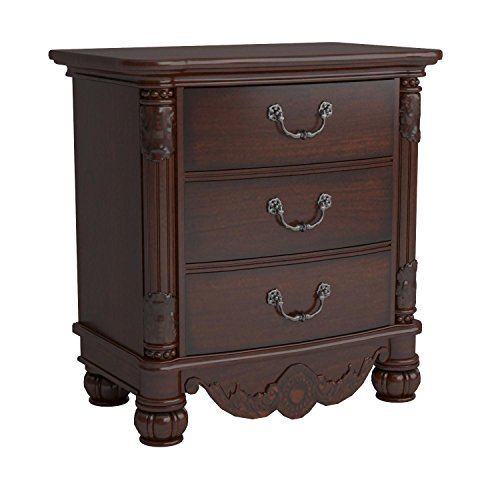 Roundhill Furniture Saillans Solid Wood Construction Fully Assembled Night Stand, Cherry Finish