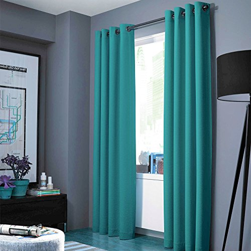 """Midwest (WC86) Different Colors and Sizes1 Panel Drape Window Treatment Curtain Thermal Insulated White Coating Blackout Antique Grommets Solid Color (84"""" STANDARD, TEAL)"""