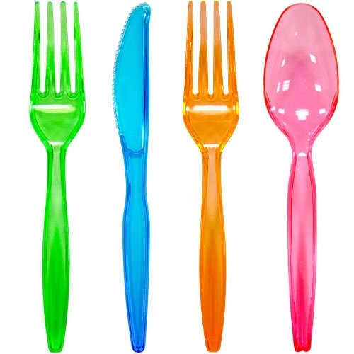 Plastic Cutlery 96-Piece Combo Knives/Forks/Spoons, Assorted Neon Colors