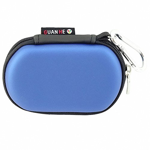 GUANHE Oval Shaped Earphone Case Universial Waterproof USB Flash Drive Case Bag Shockproof Hard EVA Case Electronic Accessories Organizer Holder In Blue