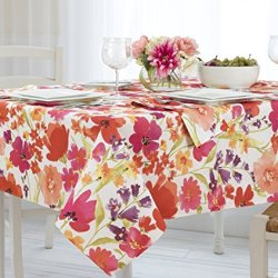 """Elrene Home Fashions Vinyl Tablecloth with Polyester Flannel Backing Floral Gardens Easy Care Spillproof, 60""""X120"""""""