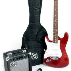 SX RST 3/4 LH CAR Red Left Handed Short Scale Guitar Package with Amp, Carry Bag and Instructional DVD