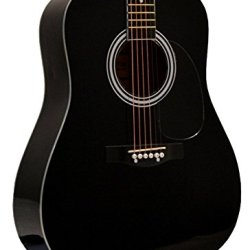 "41"" Inch Full Size Black Handcrafted Steel String Dreadnought Acoustic Guitar & DirectlyCheap(TM) Translucent Blue Medium Guitar Pick (PRO-1 Series)"