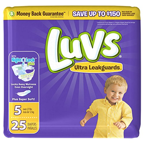 Luvs Ultra Leakguards Disposable Diapers Size 5, 25 Count, JUMBO