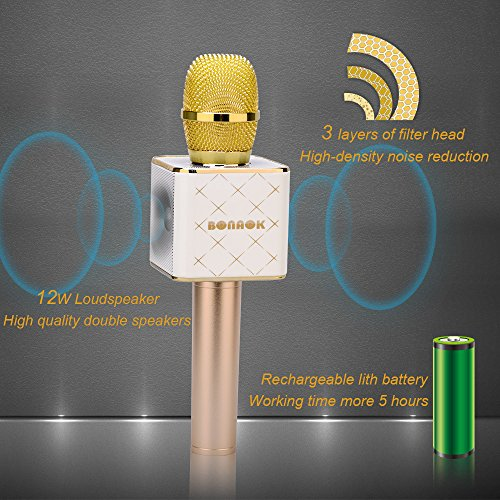 BONAOK Updated Wireless Karaoke Microphone, 3-in-1 Gold Microphone Portable Built-in Bluetooth Speaker Machine for iPhone Apple Android PC and Smartphone BONAOK Updated Wireless Karaoke Microphone, 3-in-1 Gold Microphone Portable Built-in Bluetooth Speaker Machine for iPhone Apple Android PC and Smartphone.