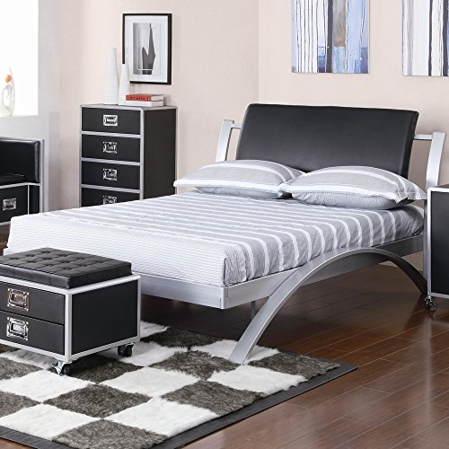 Coaster Home Furnishings Contemporary Full Bed, Silver/Black