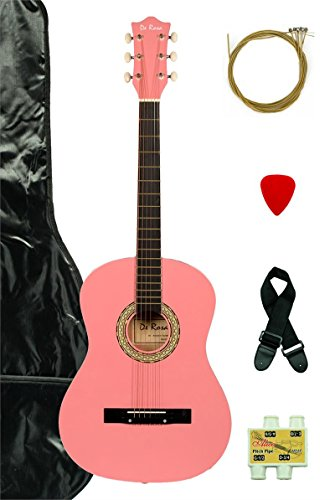 "38"" Inch Student Beginner Pink Acoustic Guitar with Carrying Case & Accessories & DirectlyCheap(TM) Translucent Blue Medium Guitar Pick (A-PRO Series)"