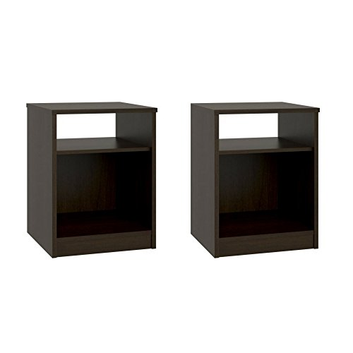 Night Stand with Simple Design in a Classic Look, Espresso, Set of 2