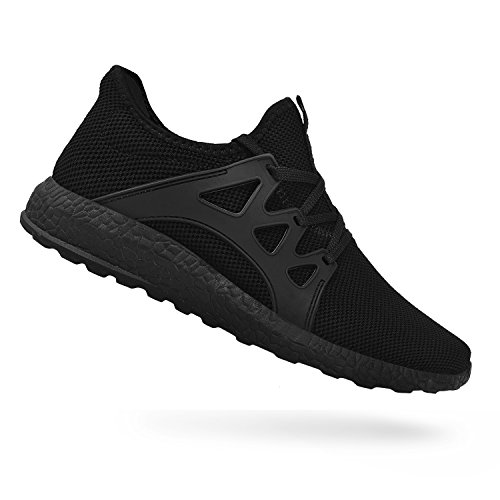 QANSI Men's Sneakers Mesh Ultra Breathable Lightweight Sports Running Shoes Black Size 12.5