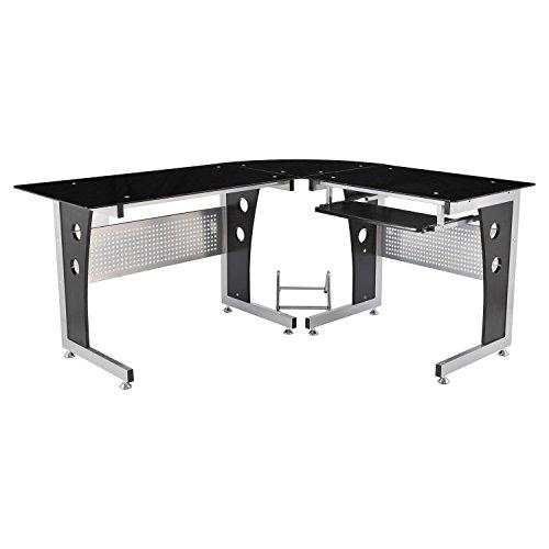 """HOMCOM 64"""" Modern L-Shaped Dark Glasstop Office Workstation Computer Desk - Black"""