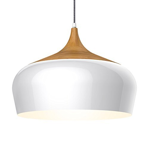 Tomons Rustic Style Wood Pattern Ceiling Pendant Lamp, Braided Nylon Cable, E26/E27 Bulb Base, 60 Watts Incandescent Bulb, 12 Watts LED Bulb For Dining Room, Living Room, Bedroom, Study Room