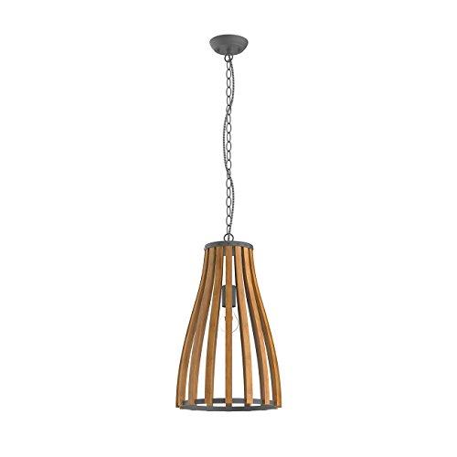 Tomons Wooden Frame Retro Pendant Lamp, Mediterranean Style, E26/E27 Bulb Base, 60W Incandescent Bulb or 12W LED Bulb For Dining Room, Living Room, Bedroom, Study Room