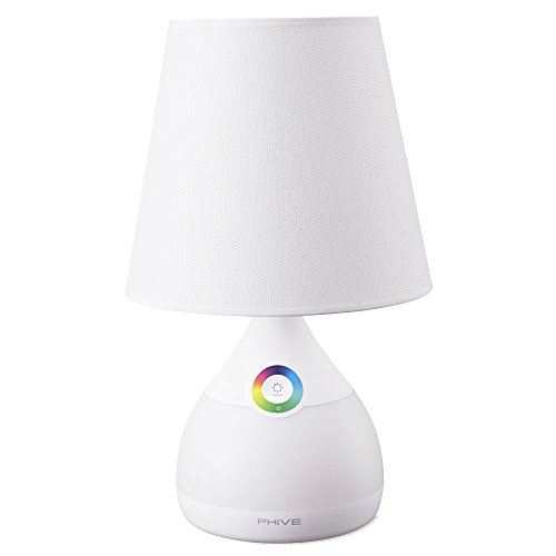 Phive Table Lamp for Bedroom/Living Room, Dimmable LED Bedside Lamp, Touch-Sensitive Control, 2-in-1 Warm White Light & Color Changing RGB Mood Light/Nightlight (White)