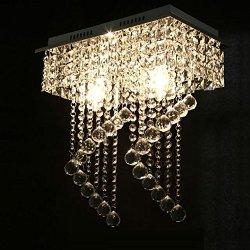 "Surpars House Flush Mount 2-Light Crystal Chandelier, Length:15"" Width:7.87"" Height:15.3"",Silver"