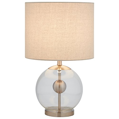 "Stone & Beam Pearl Modern Glass Orb Lamp, with Bulb, Linen Shade, 19.5"" x 11.5"" x 11.5"", Silver"