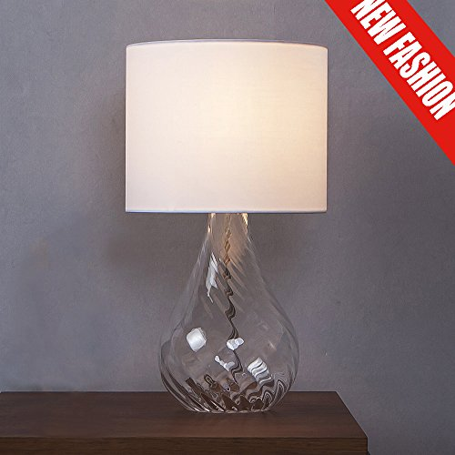 SOTTAE Elegant Fashionable Design Clear Glass Lamp Living Room Bedroom Bedside Table Lamps, Desk Lamp in White Fabric Shade