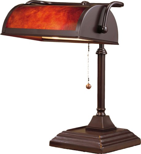 Normande Lighting 60-Watt Banker's Lamp with Mica Shade